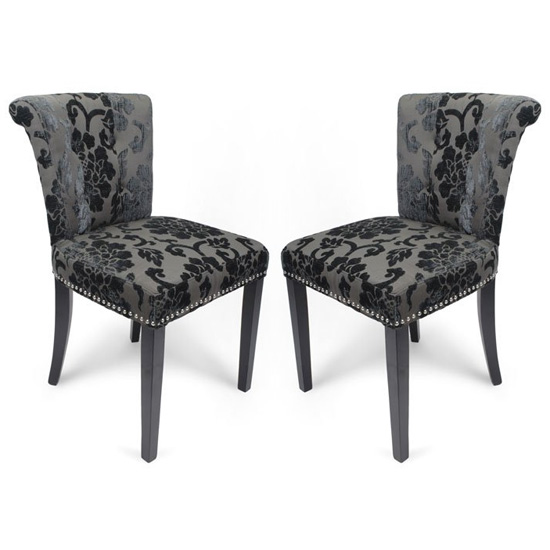 Sandringham Charcoal Baroque Velvet Accent Chairs In Pair