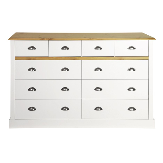 Sandringham Chest Of Drawers In White And Pine With 10 Drawers