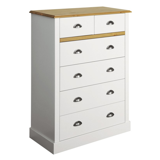 Sandringham Chest Of Drawers In White And Pine With 6 Drawers_2
