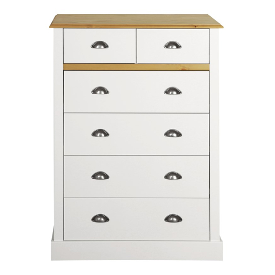 Sandringham Chest Of Drawers In White And Pine With 6 Drawers