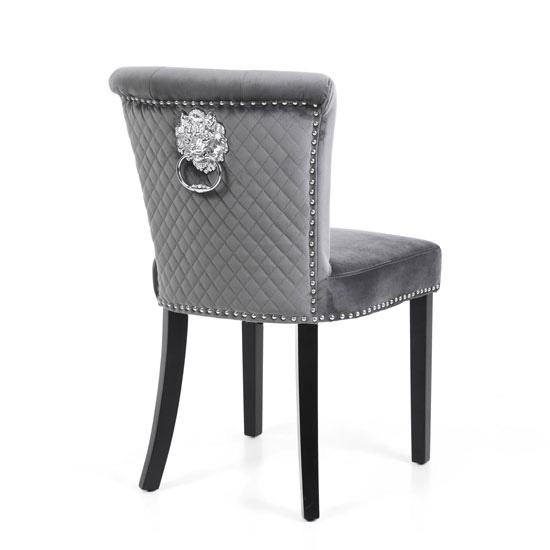 Sandringham Lionhead Grey Brushed Velvet Accent Chairs In Pair_3