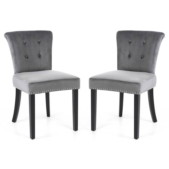 Sandringham Lionhead Grey Brushed Velvet Accent Chairs In Pair_1