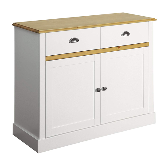 Sandringham Sideboard In White And Pine With 2 Doors - 2 Drawers