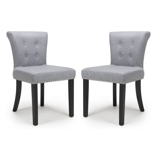 Sandringham Silver Grey Linen Effect Accent Chairs In Pair