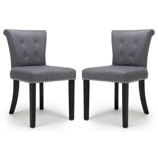 Sandringham Steel Grey Linen Effect Accent Chairs In Pair