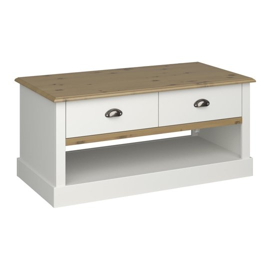 Sandringham Wooden Coffee Table In White And Pine