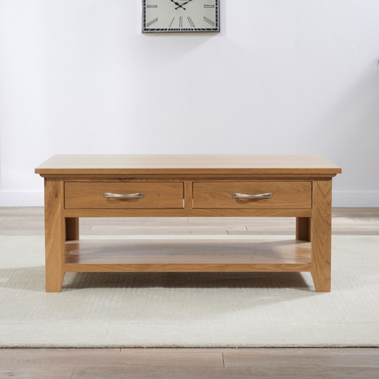 Sandringham Wooden Coffee Table In Oak With 2 Drawers