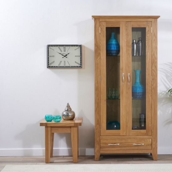 Sandringham Wooden Display Cabinet In Oak With 2 Doors
