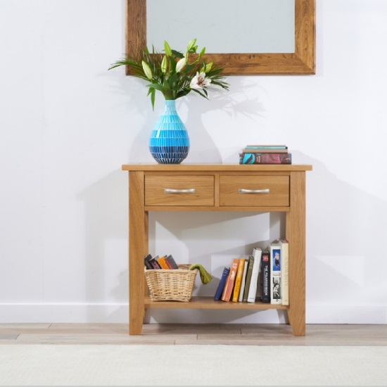 Nice Sandringham Wooden Console Table Small In Oak With 2 Drawers