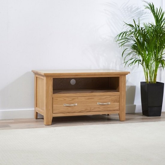 Abelia Wooden TV Stand Small In Oak With Drawer
