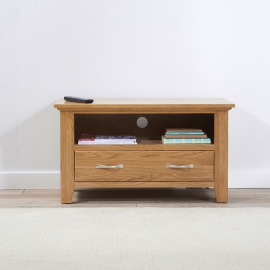 Abelia Wooden TV Stand Small In Oak With Drawer_2