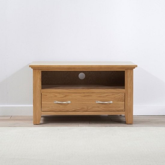 Abelia Wooden TV Stand Small In Oak With Drawer_3