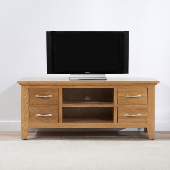 Sandringham Wooden TV Stand In Oak With 1 Door And 2 Drawers