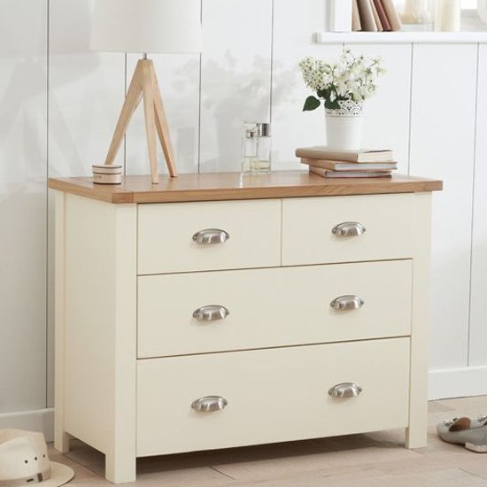 Sandringhia Chest Of Drawers In Oak And Cream With 4 Drawers