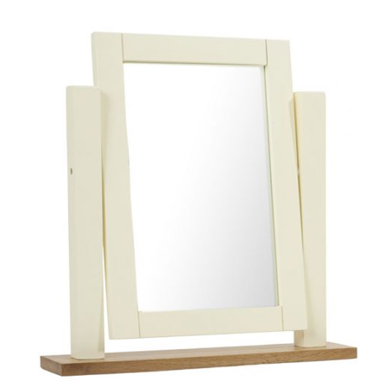 Sandringhia Dressing Table Mirror In Oak And Cream Frame