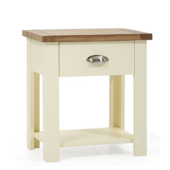 Sandringhia Wooden 1 Drawer Bedside Cabinet In Oak And Cream