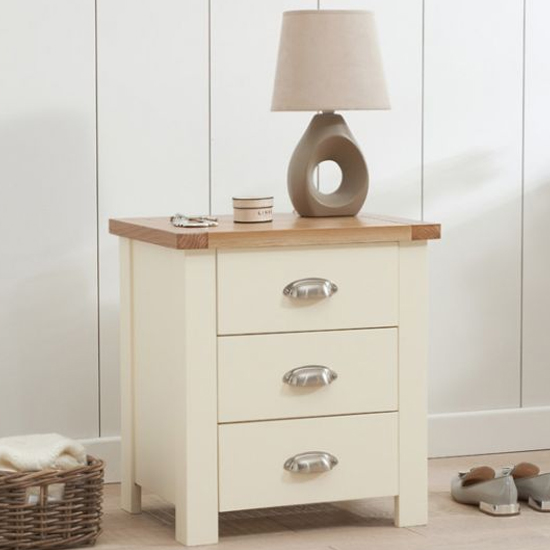 Sandringhia Wooden 3 Drawers Bedside Cabinet In Oak And Cream