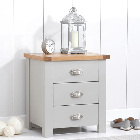 Sandringhia Wooden 3 Drawers Bedside Cabinet In Oak And Grey