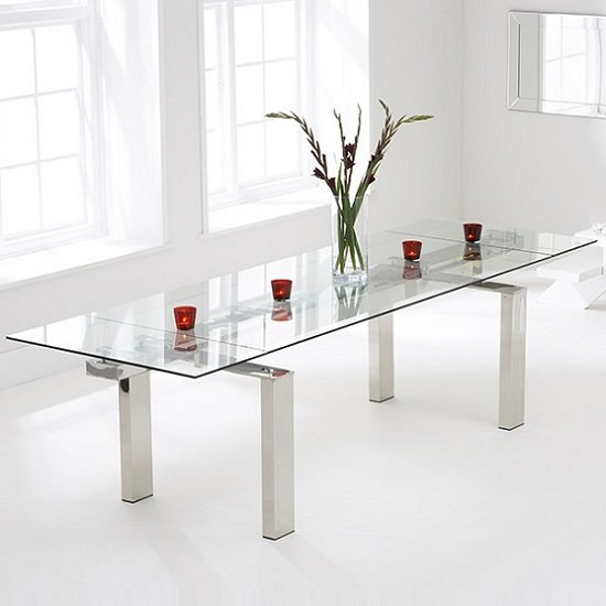 sandro glass extendable dining table in clear with chrome. Black Bedroom Furniture Sets. Home Design Ideas