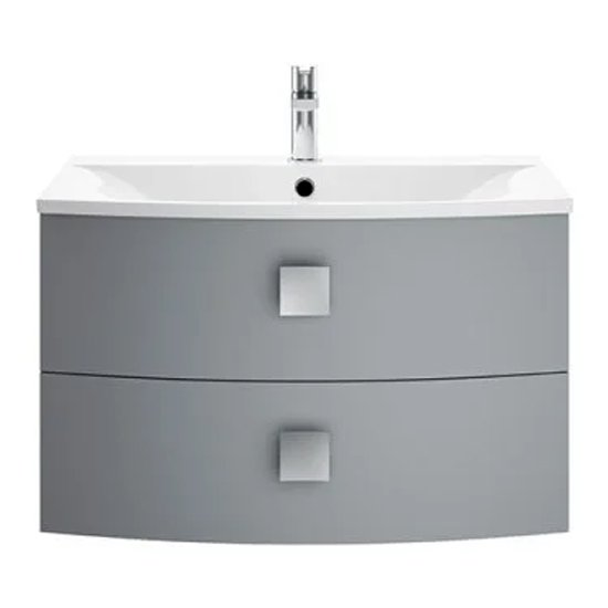 View Sane 70cm wall hung vanity unit with basin in dove grey