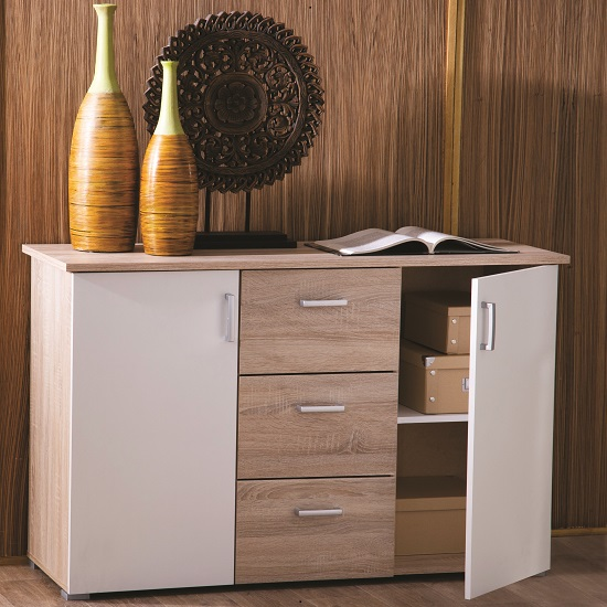 Sanford Wooden Sideboard In Brushed Oak And Pearl White_1