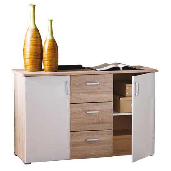 Sanford Wooden Sideboard In Brushed Oak And Pearl White_2
