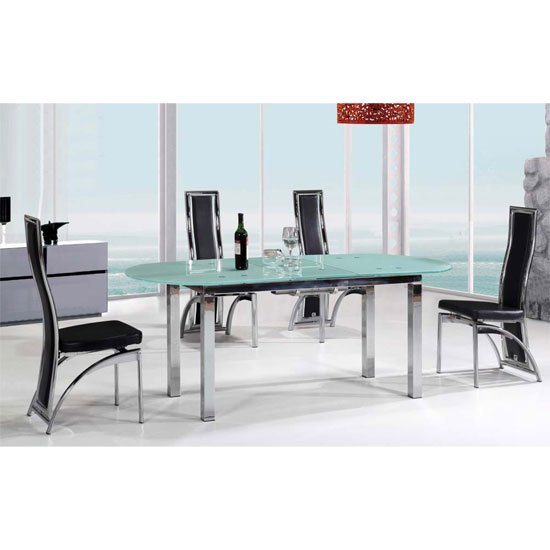 san francisco extendable dining table in frosted glass