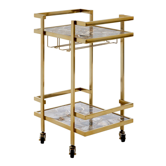 Sansuna Agate Top Drinks Trolley With Gold Frame