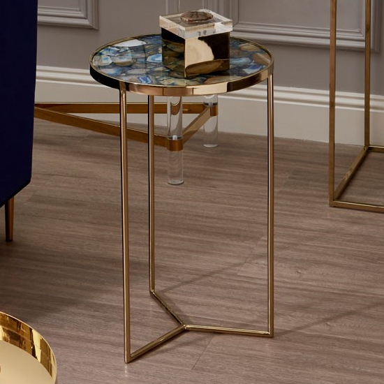 Sansuna Blue Agate Stone Side Table With Gold Frame
