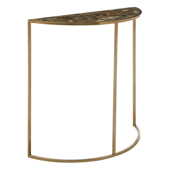 Sansuna Half Moon Agate Top Console Table With Gold Frame