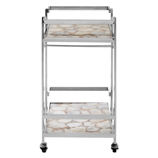 Sansuna White Agate Top Drinks Trolley With Silver Frame_2