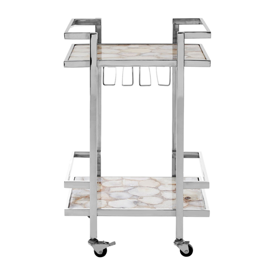 Sansuna White Agate Top Drinks Trolley With Silver Frame_3
