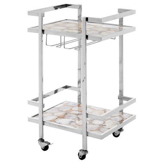 Sansuna White Agate Top Drinks Trolley With Silver Frame