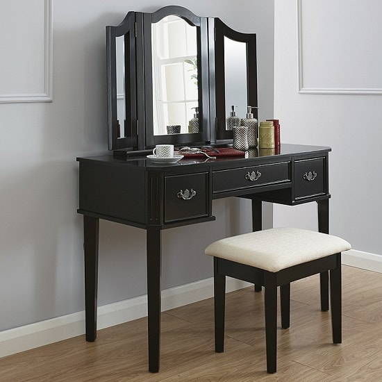 Santana Contemporary Dressing Table Set In Black