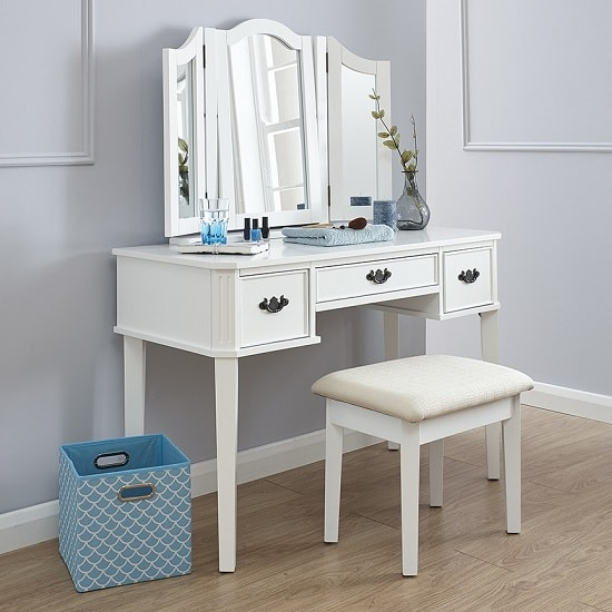 Santana Contemporary Dressing Table Set In White