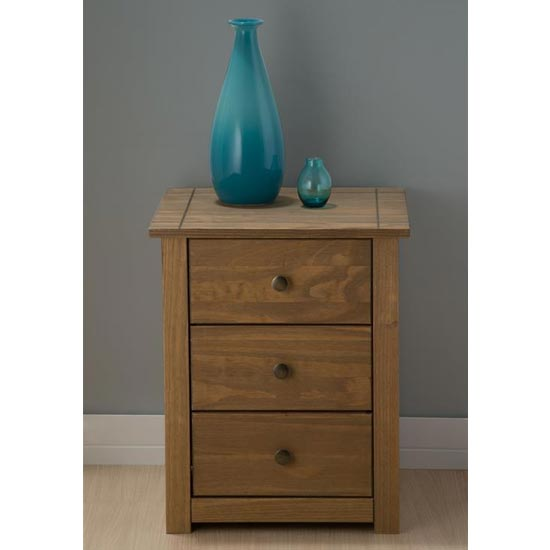 Santiago Bedside Cabinet In Distressed Pine With 3 Drawers_2