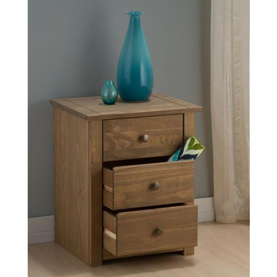 Santiago Bedside Cabinet In Distressed Pine With 3 Drawers_3