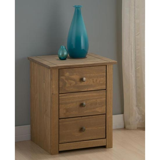 Santiago Bedside Cabinet In Distressed Pine With 3 Drawers_1