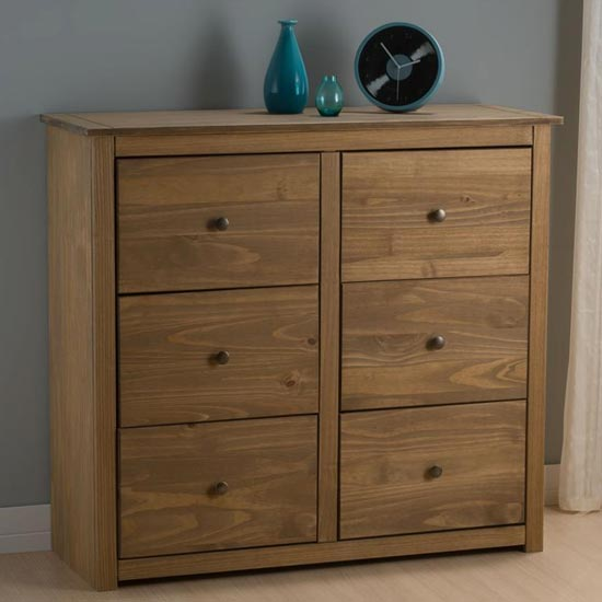 Santiago Chest Of Drawers In Distressed Pine With 6 Drawers