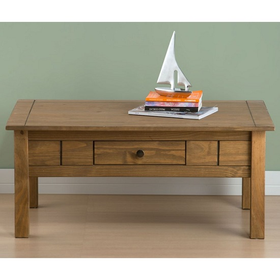Santiago Coffee Table In Distressed Pine With 1 Drawer