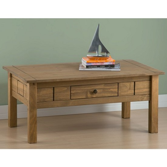 Santiago Coffee Table In Distressed Pine With 1 Drawer_2