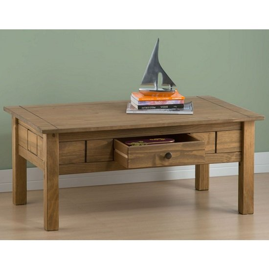 Santiago Coffee Table In Distressed Pine With 1 Drawer_3