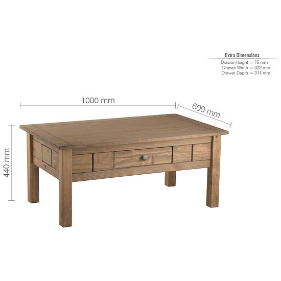 Santiago Coffee Table In Distressed Pine With 1 Drawer_5