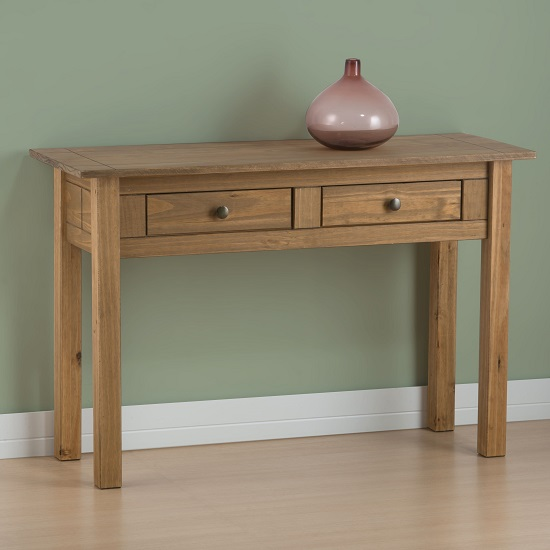 Santiago Console Table In Distressed Pine With 2 Drawer
