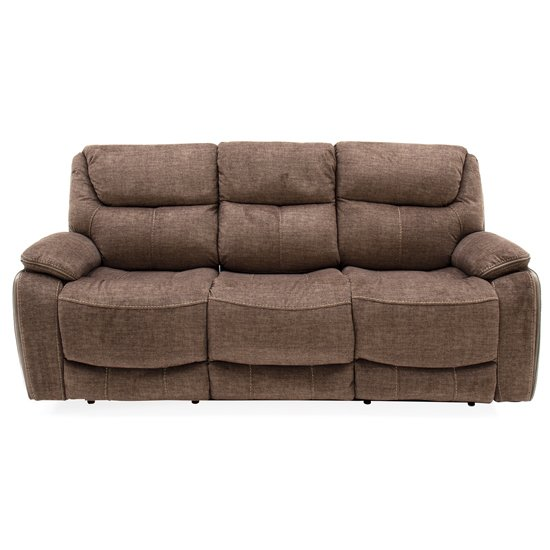 Santiago Fabric Upholstered Recliner 3 Seater Sofa In Brown