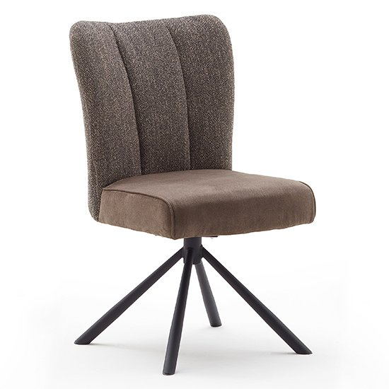 Santiago Fabric Upholstered Swivel Dining Chair In Cappuccino