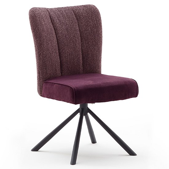 Santiago Fabric Upholstered Swivel Dining Chair In Merlot