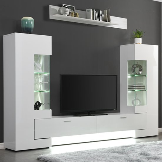 Santiago Entertainment Unit In White High Gloss With Led Lights