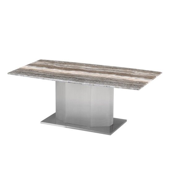 Santiago Marble Coffee Table In Natural Tones With Steel Base