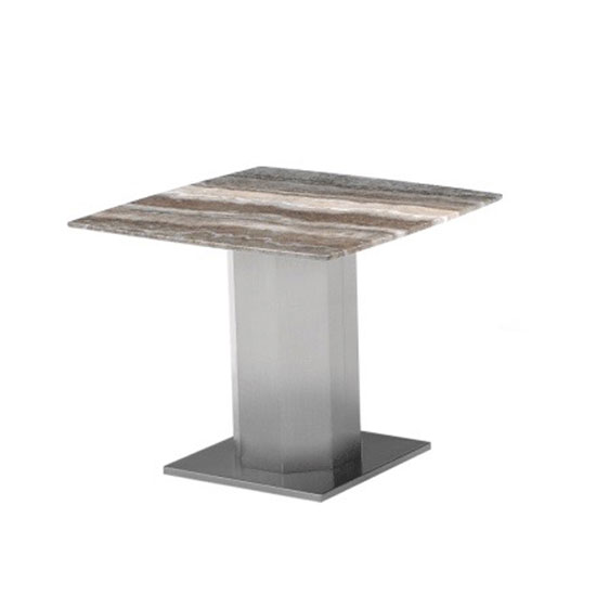 Santiago Marble End Table In Natural Tones With Steel Base